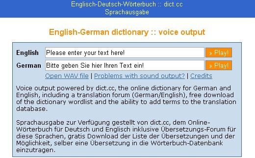 《德文專區》線上學習網站:sprachausgabe.dict.cc