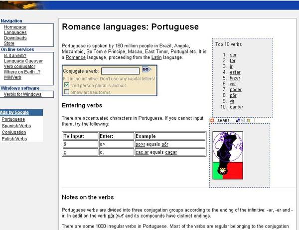 Verbix -- Romance languages: conjugate Portuguese verbs