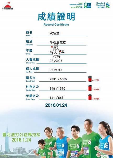 2016台北渣打馬拉松