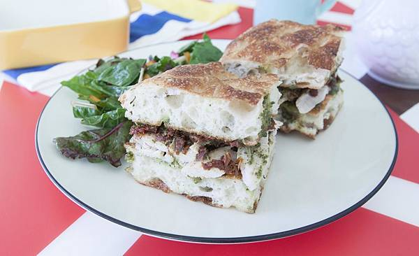 Rotisserie Chicken Pesto Focaccia Sandwich by Me - 4.jpg