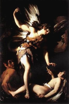 喬凡尼‧巴約尼 圖為他回敬卡拉瓦喬的作品,並把卡拉瓦喬畫成背景的魔鬼