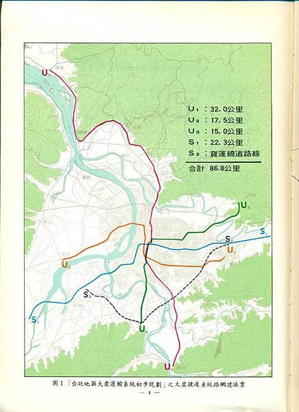 U1 U2 U3 S1 S2路網(民國66年)