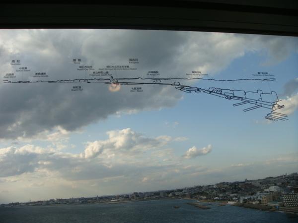 眺望臺玻璃上已經幫遊客指出景點方向
