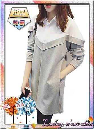 韓版中長款寬鬆假兩件T恤長袖襯衫_002.jpg