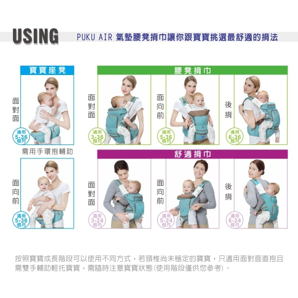 [育兒用品]PUKU AIR1+1腰凳揹巾~