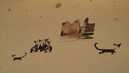 牆上的可愛貓咪圖案