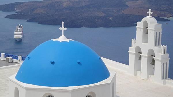 2080.@ Firostefani~藍色圓頂教堂