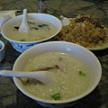 Preserved Duck Egg and Salty Pork Congee, Beef Congee & Fried Rice with Beef
