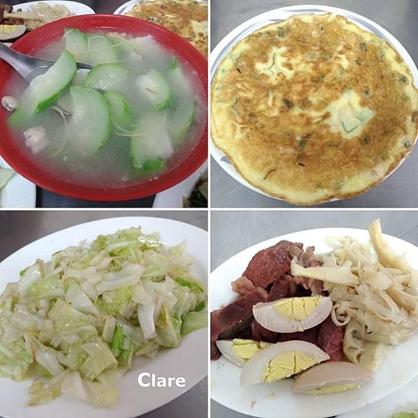 珍味昌-蛤蠣絲瓜湯、蔥蛋、炒青菜(高麗菜)、小菜(筍干、滷蛋、爌肉).jpg
