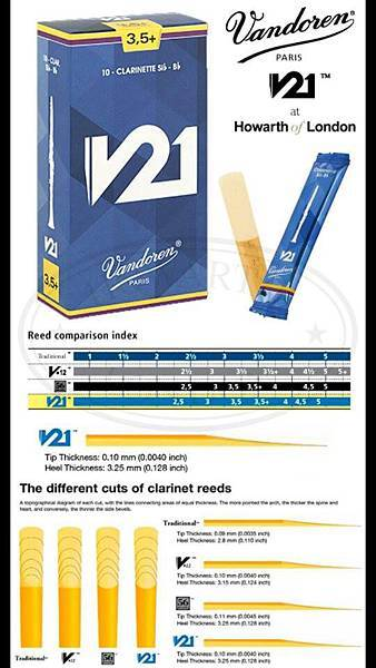 Vandoren Newest clarinet reed V21 Chart