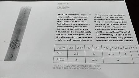 ALTA reed chart