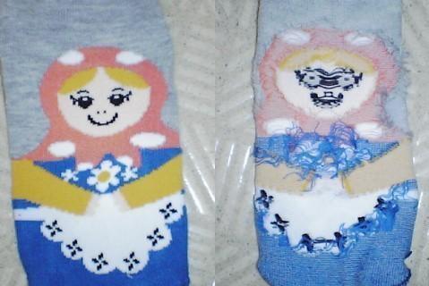 襪子兩面大不相同