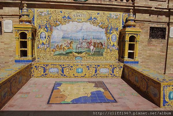 西班牙廣場上ALBACETE磁磚畫