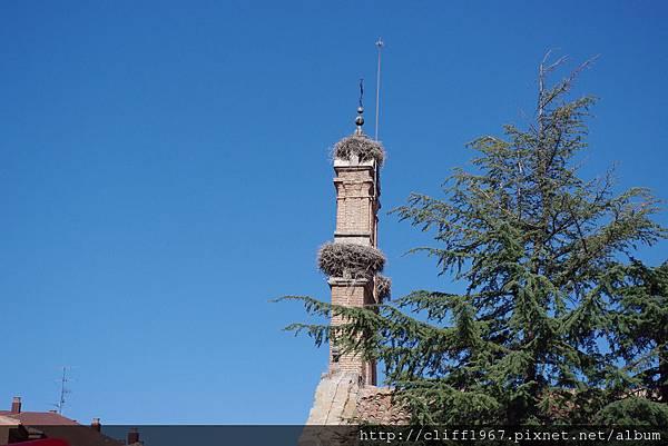 教堂鐘塔上的鸛鳥巢