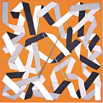 愛馬仕的絲巾圖案兼具當代藝術和流行美感,圖為緞帶組成一幅絲巾的畫面構圖。