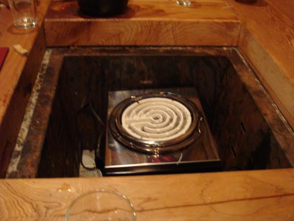 坑爐中原本應該是燒炭火的...