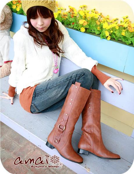 3D彈性層次垂直皮釦騎士靴2.jpg