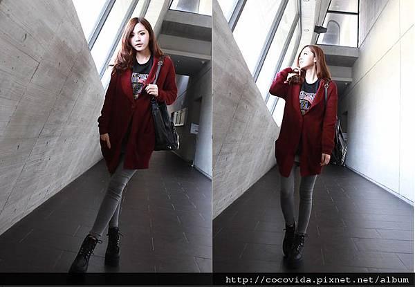 單釦雙口袋長版罩針織衫外套5色$390