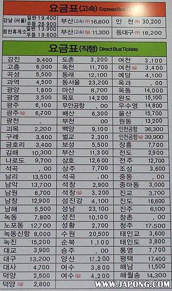 suncheon to expo bus fare