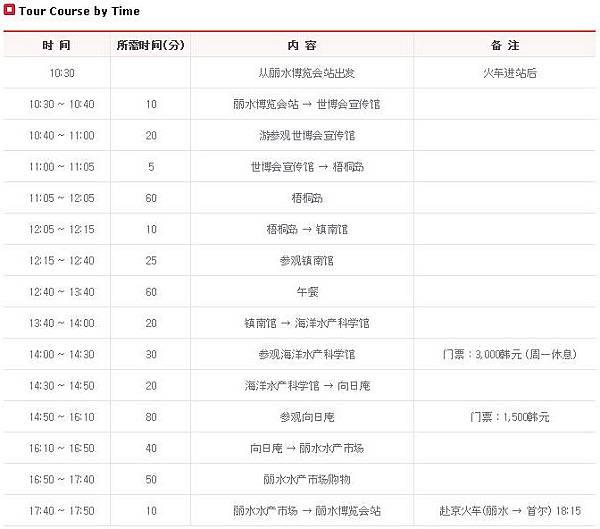 city tour course 01 schedule