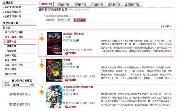 金石堂-靈異神怪類暢銷排行榜第一名  -2011-06-24.jpg