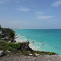 Caribbean water by the ruins, Tulum.JPG