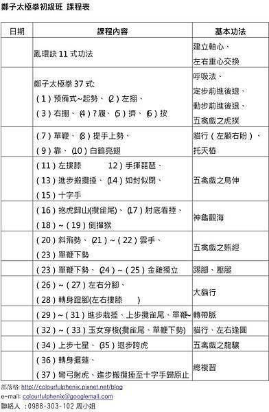 初級班課程表