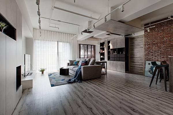 輕工業風 Industrial Style 磚牆 原生工業風  不鏽鋼檯面 廚房設計 吧台設計 淡水室內設計 麻質窗簾