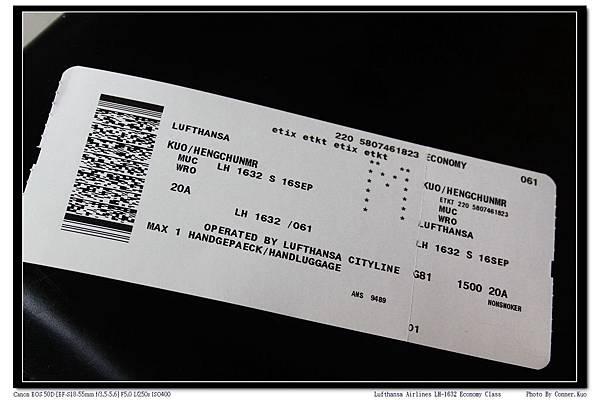 Lufthansa Airlines LH-1632 Economy Class
