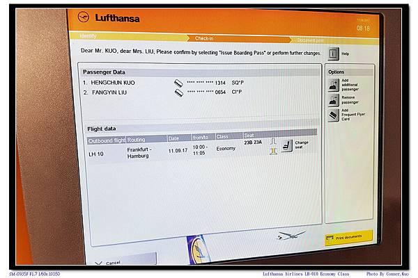 Lufthansa Airlines LH-010 Economy Class