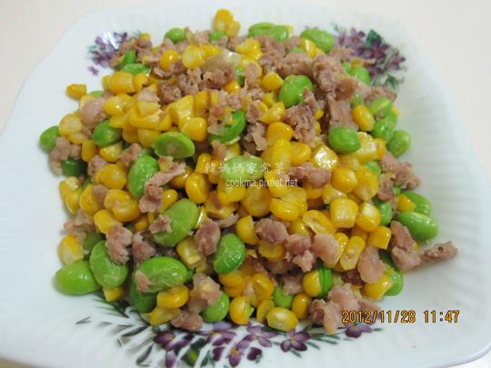 毛豆玉米炒肉丁