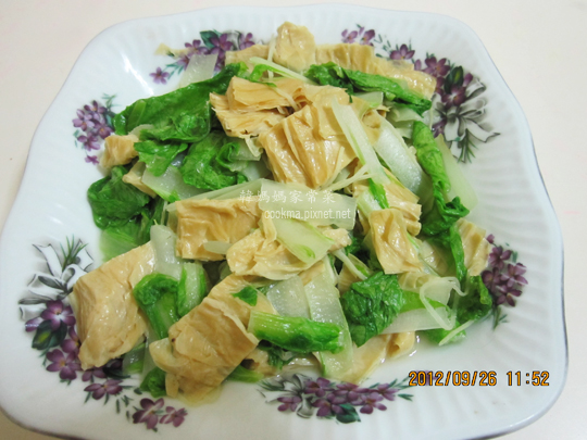 家常小白菜炒腐皮