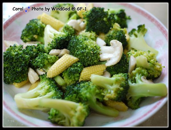 炒磨菇花椰菜