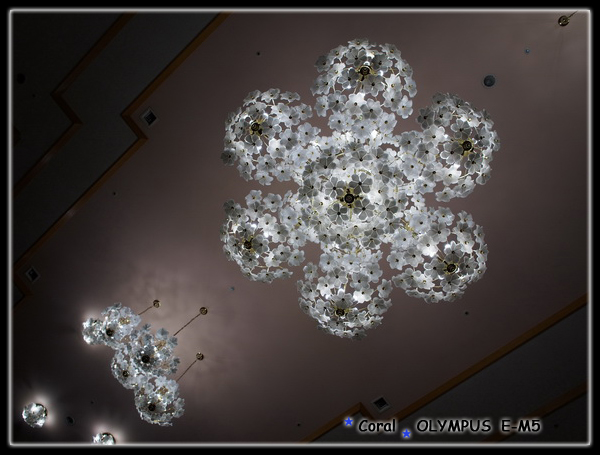 飯店大廳的吊燈挺美的