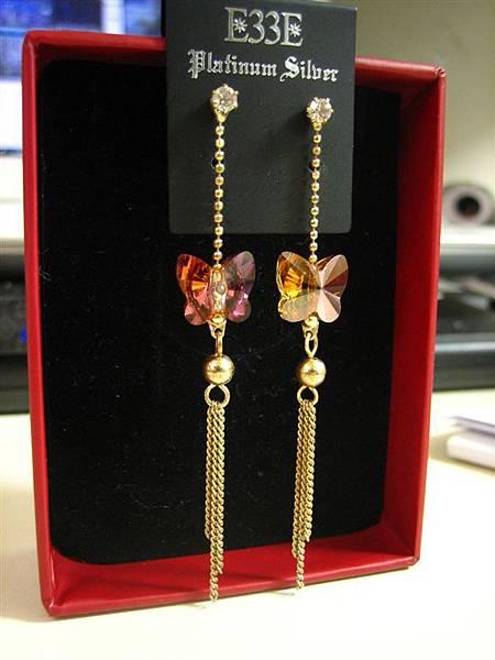 水晶蝴蝶耳環