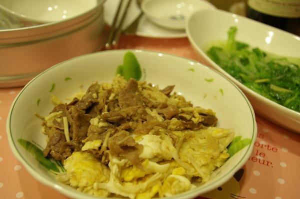 小白菜+金針菇羊肉炒蛋