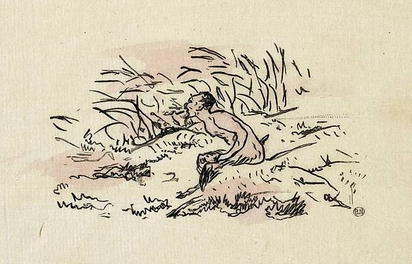 馬奈為《牧神的午後》所畫的卷頭插畫