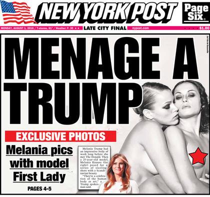 《紐約郵報》日前出版瑪蓮妮亞過往拍攝的裸照,她是美國第一位拍過多張性感豔照與裸照的第一夫人