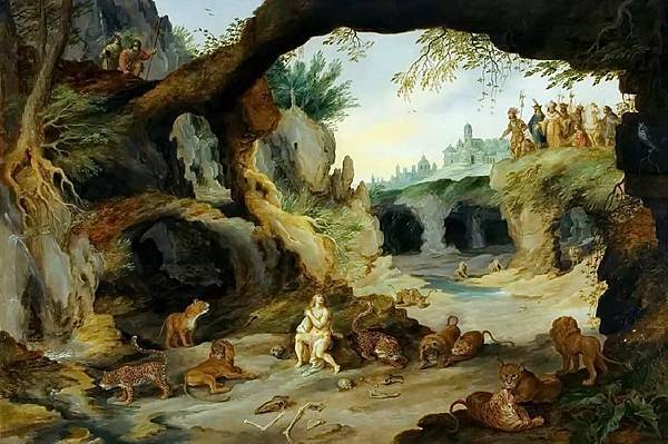 Jan Brueghel the Younger- Daniel in the pit with predators