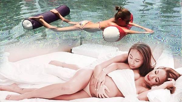 澳門娛樂大亨周焯華老婆陳慧玲挺著7月肚,穿著比基尼游泳