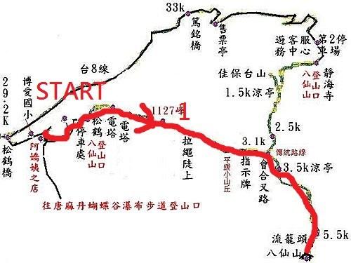 松鶴到八仙山登山步道略圖-1