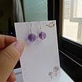 紫螢石純銀耳環