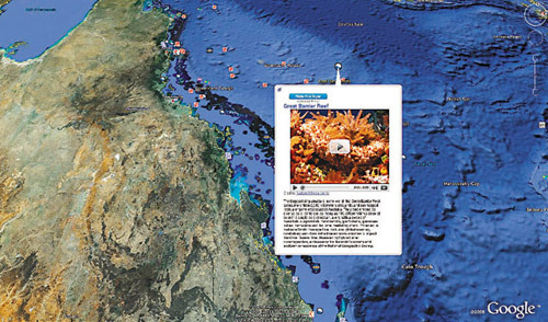 Google_Earth 5.0-在Google Earth上輸入大堡礁,就可以了解大堡礁附近的海底生態.jpg