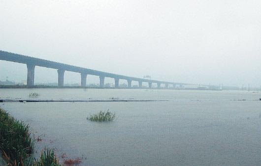 宜蘭縣到今午還在下雨,地勢低窪的武淵村,不少農路還淹在水裡。.jpg