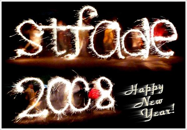 仙女棒寫字:新年快樂!