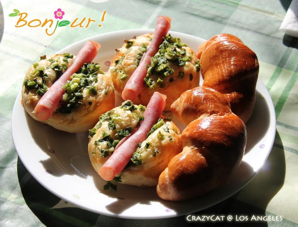 2012/9/10 蔥火腿麵包 & 牛角麵包