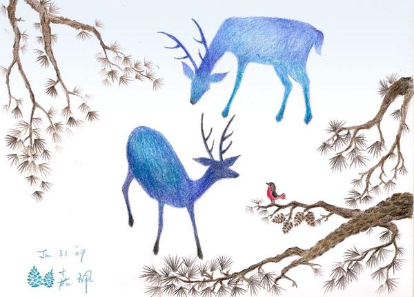 雪地裡的鹿 (格放)