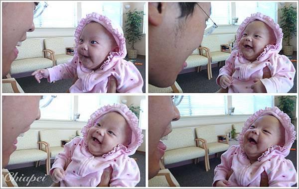 9/16 帶寶寶去看醫生,小病人樂呵呵的一點病容也沒有 :p