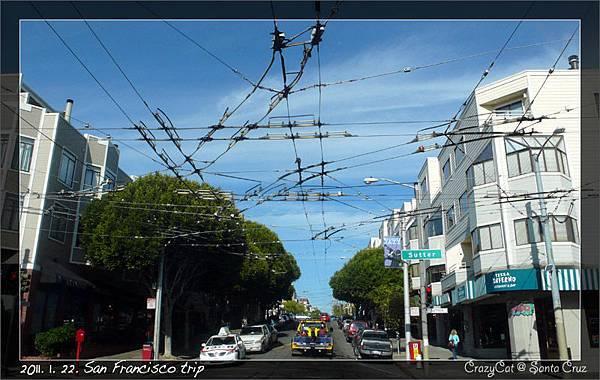 舊金山特色之一:縱橫交錯的電車線