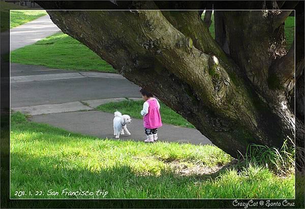 遇到一隻小狗,很高興地和牠打招呼
